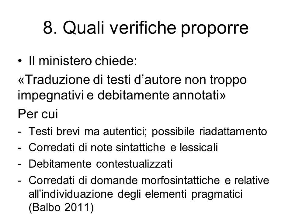 8. Quali verifiche proporre