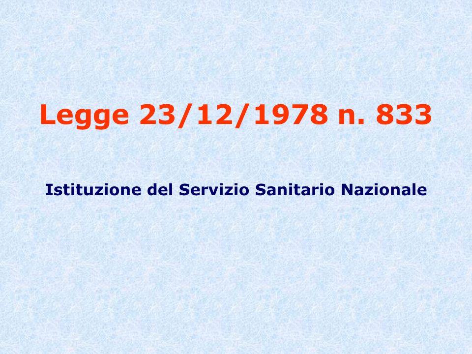 Istituzione del Servizio Sanitario Nazionale