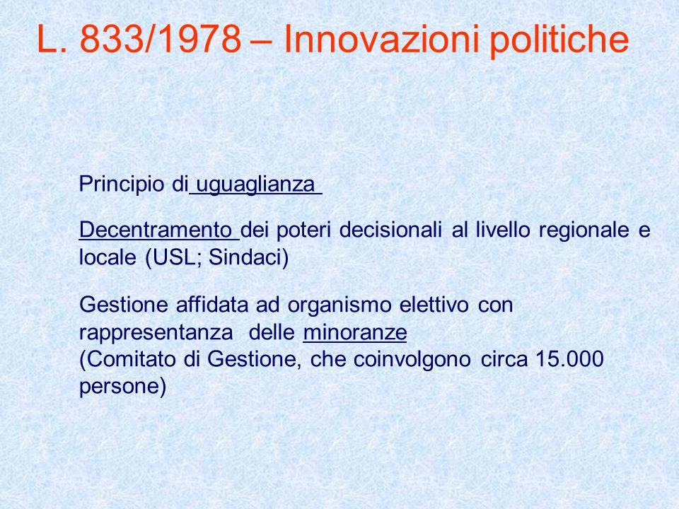 L. 833/1978 – Innovazioni politiche