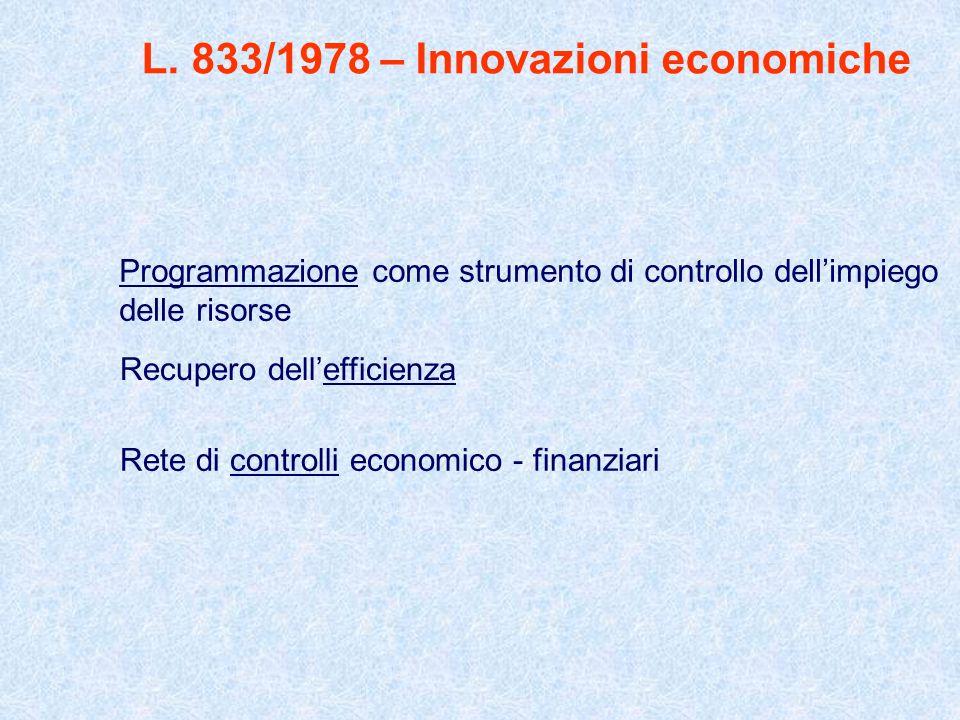 L. 833/1978 – Innovazioni economiche