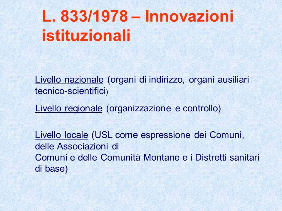 L. 833/1978 – Innovazioni istituzionali