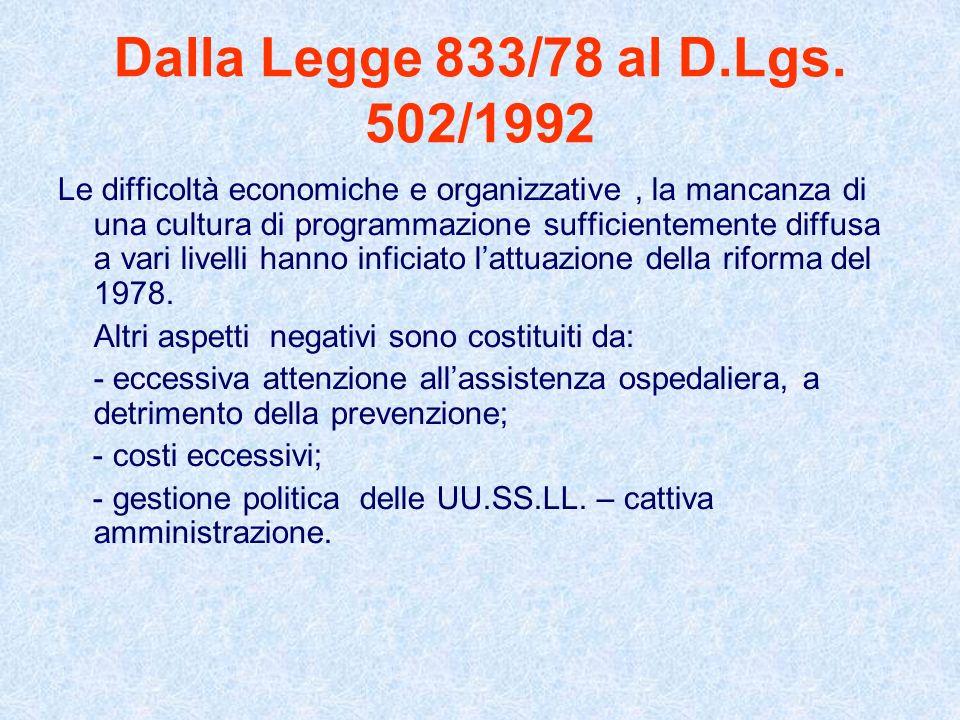 Dalla Legge 833/78 al D.Lgs. 502/1992