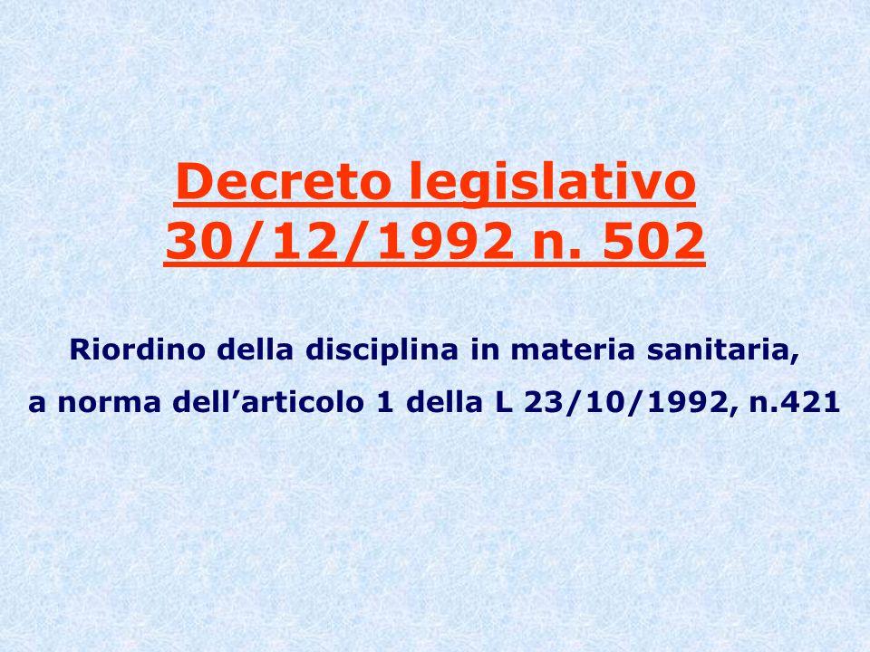 Decreto legislativo 30/12/1992 n. 502