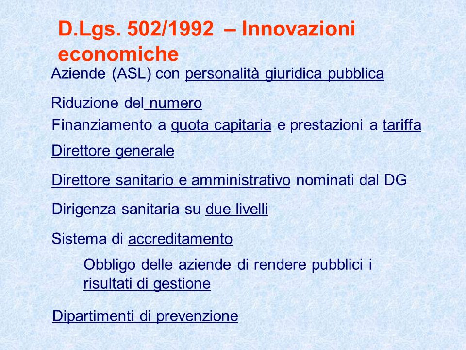 D.Lgs. 502/1992 – Innovazioni economiche