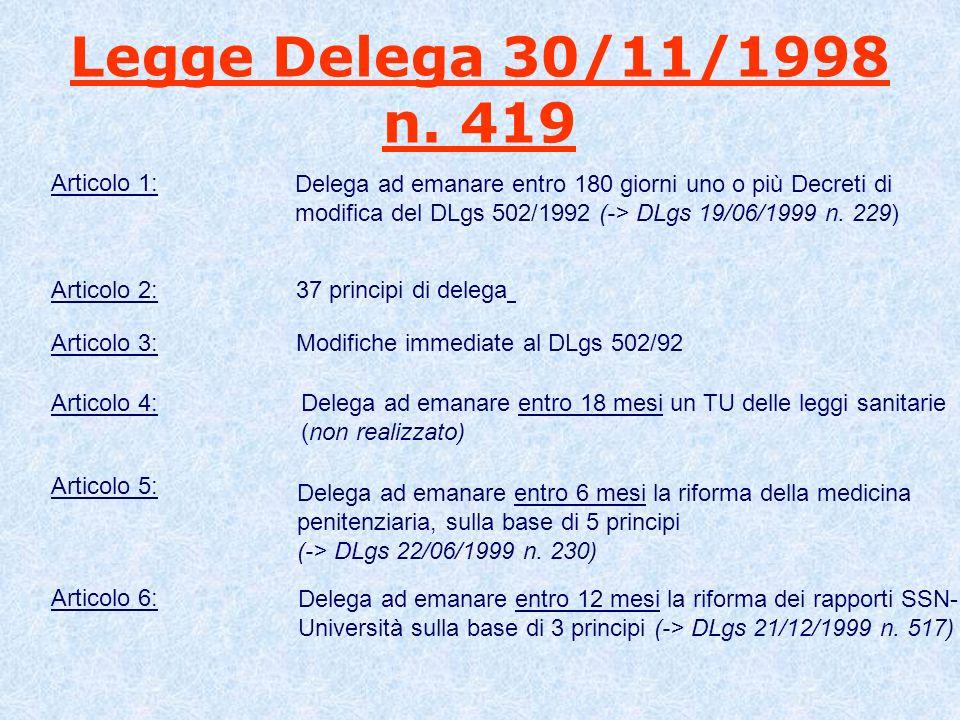 Legge Delega 30/11/1998 n. 419 Articolo 1: