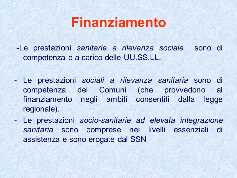 Finanziamento -Le prestazioni sanitarie a rilevanza sociale sono di competenza e a carico delle UU.SS.LL.