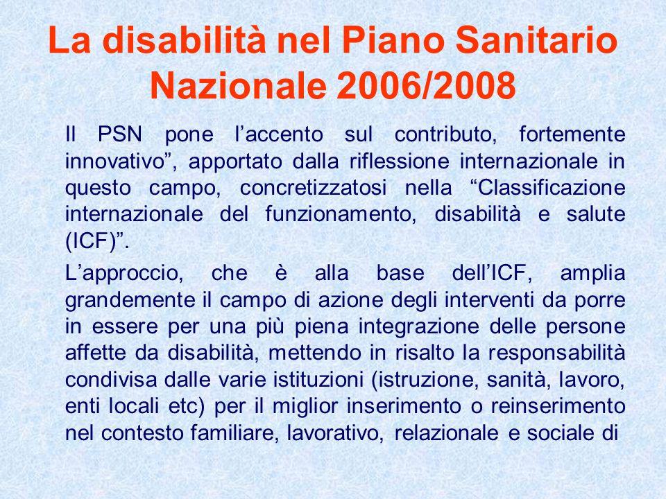 La disabilità nel Piano Sanitario Nazionale 2006/2008
