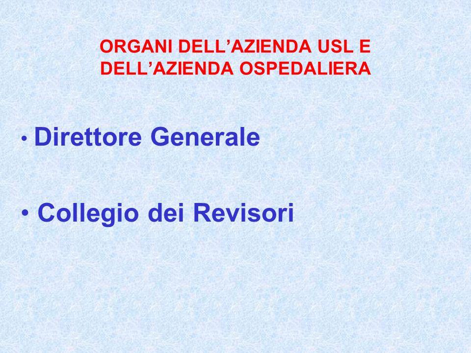 ORGANI DELL'AZIENDA USL E DELL'AZIENDA OSPEDALIERA