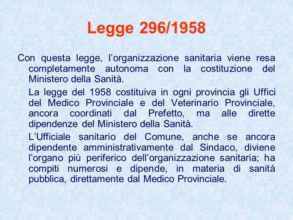 Legge 296/1958 Con questa legge, l'organizzazione sanitaria viene resa completamente autonoma con la costituzione del Ministero della Sanità.