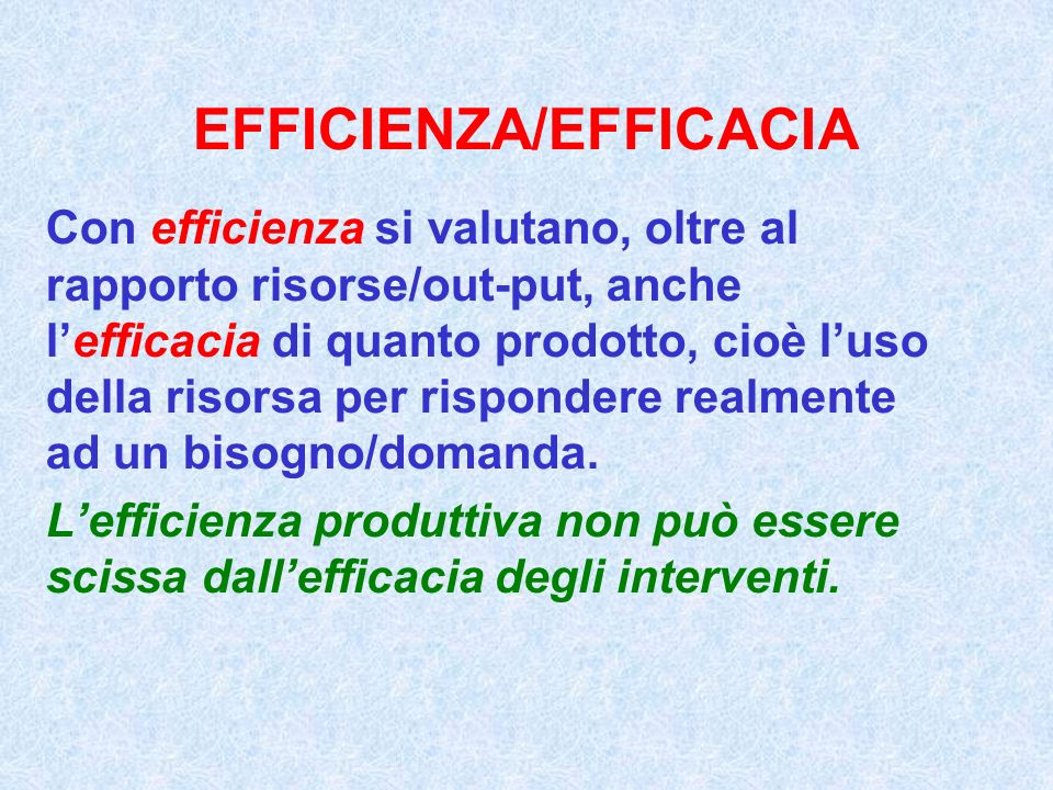 EFFICIENZA/EFFICACIA
