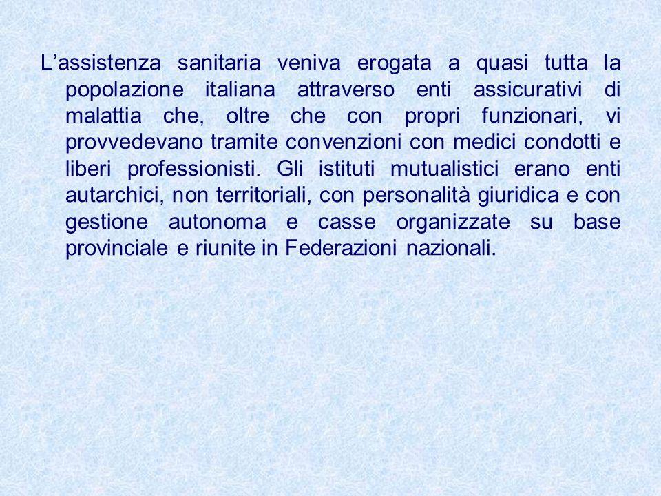 L'assistenza sanitaria veniva erogata a quasi tutta la popolazione italiana attraverso enti assicurativi di malattia che, oltre che con propri funzionari, vi provvedevano tramite convenzioni con medici condotti e liberi professionisti.