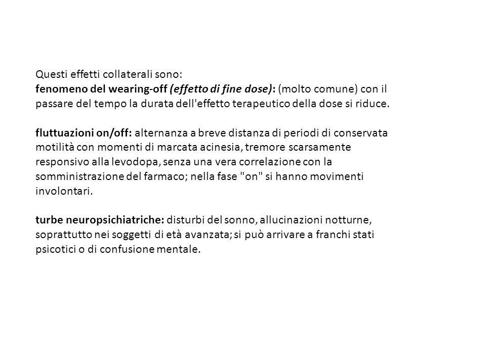 Questi effetti collaterali sono: