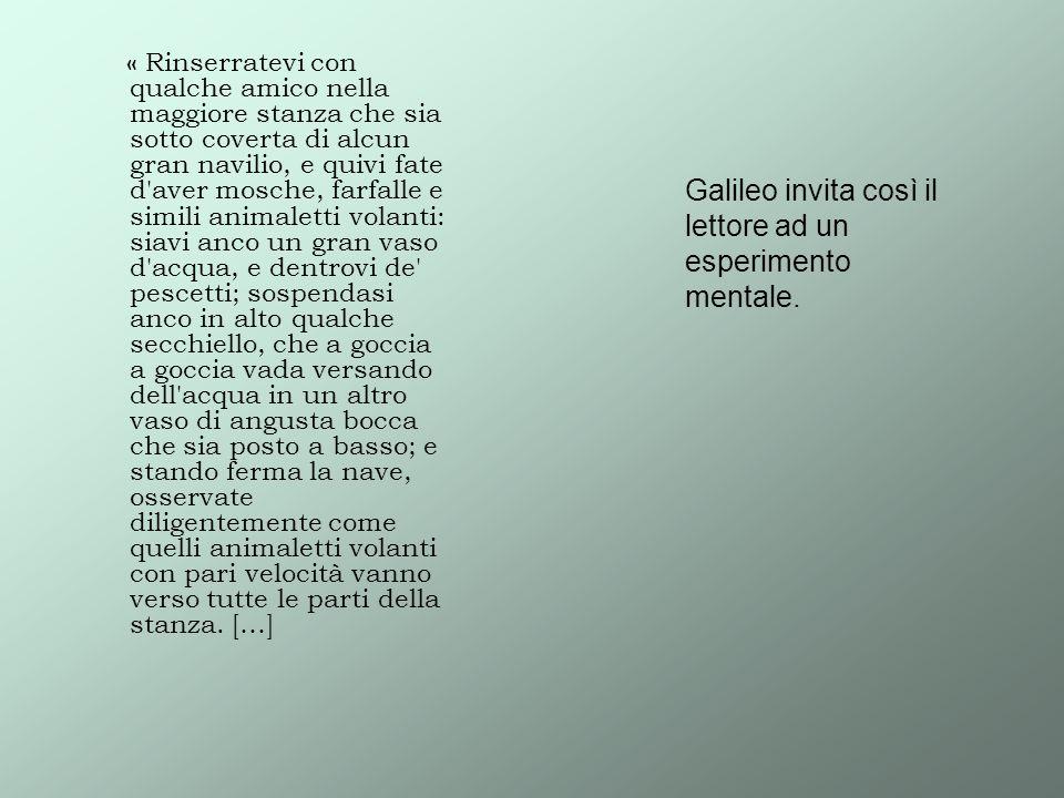 Galileo invita così il lettore ad un esperimento mentale.