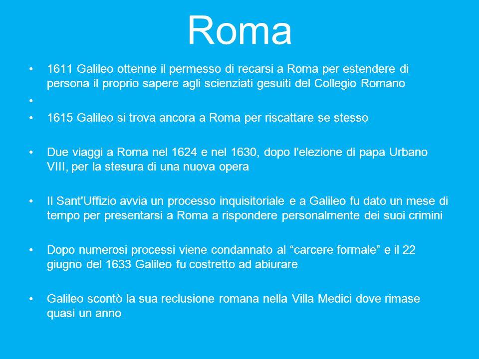 Roma 1611 Galileo ottenne il permesso di recarsi a Roma per estendere di persona il proprio sapere agli scienziati gesuiti del Collegio Romano.