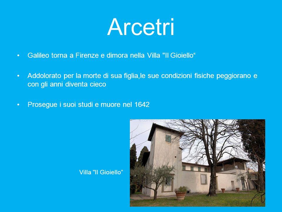 Arcetri Galileo torna a Firenze e dimora nella Villa Il Gioiello