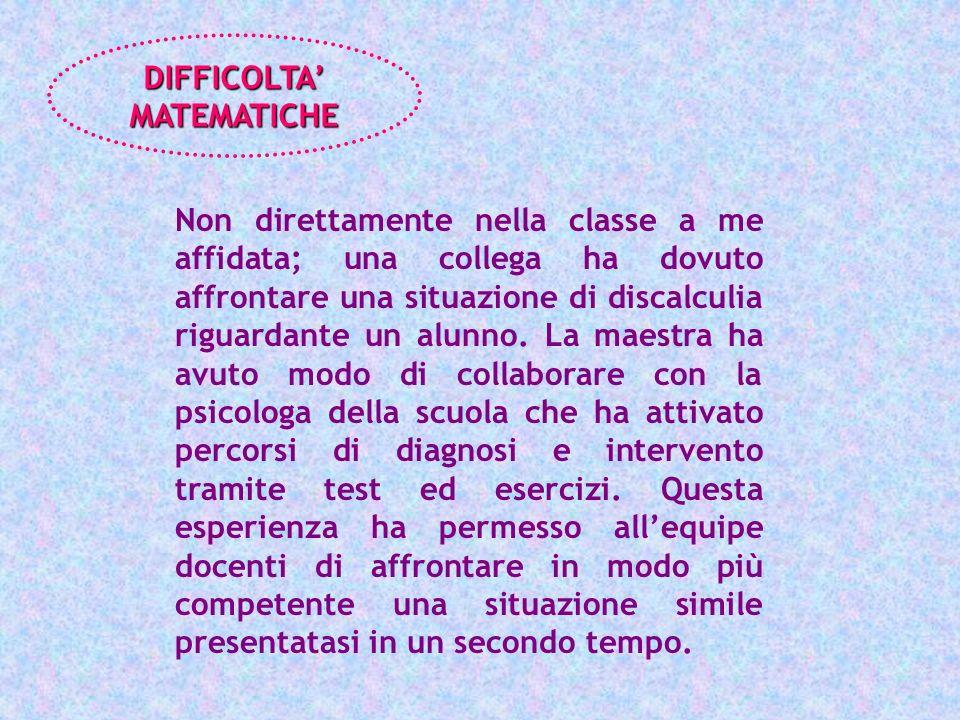 DIFFICOLTA' MATEMATICHE