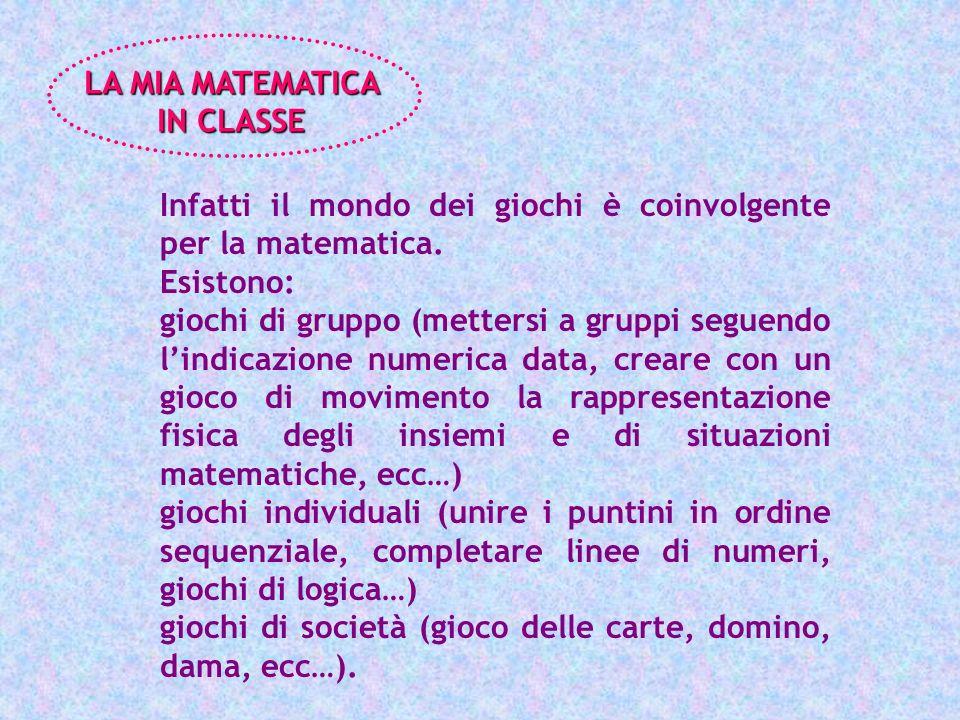 LA MIA MATEMATICA IN CLASSE. Infatti il mondo dei giochi è coinvolgente per la matematica. Esistono: