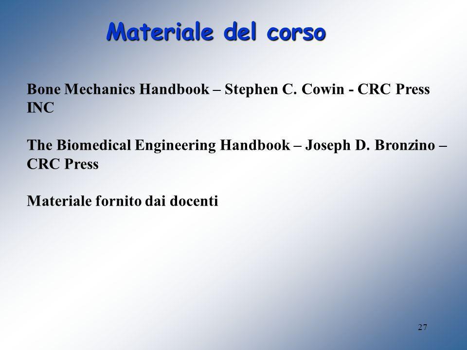 Materiale del corso Bone Mechanics Handbook – Stephen C. Cowin - CRC Press INC. The Biomedical Engineering Handbook – Joseph D. Bronzino – CRC Press.