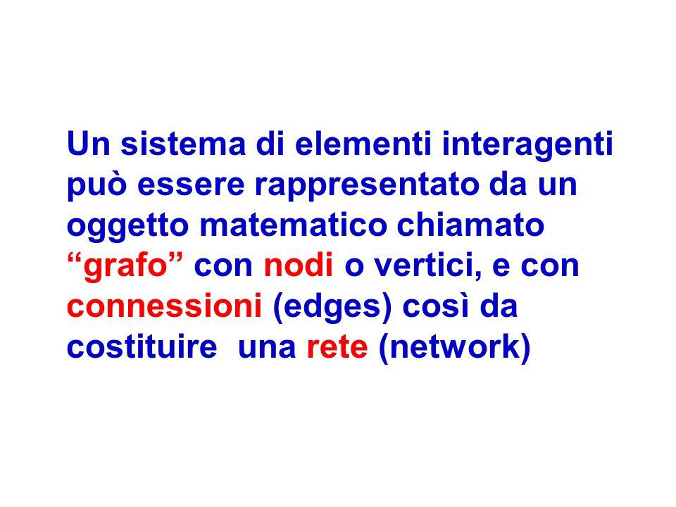 Un sistema di elementi interagenti può essere rappresentato da un oggetto matematico chiamato grafo con nodi o vertici, e con connessioni (edges) così da costituire una rete (network)
