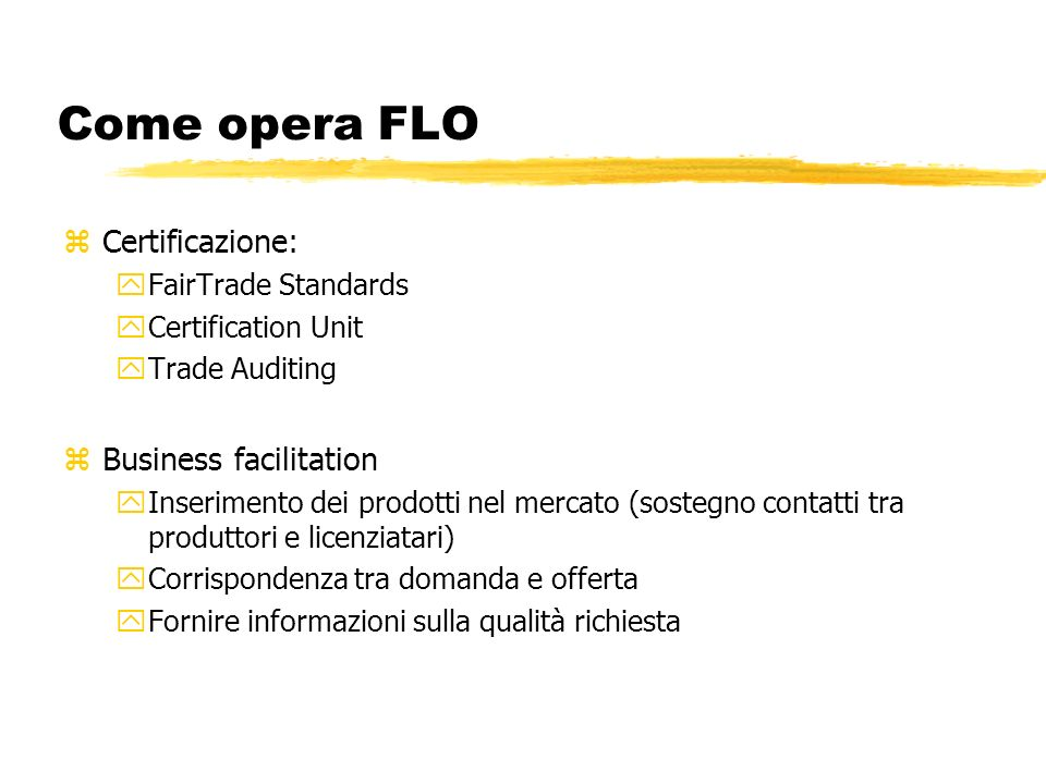 Come opera FLO Certificazione: Business facilitation