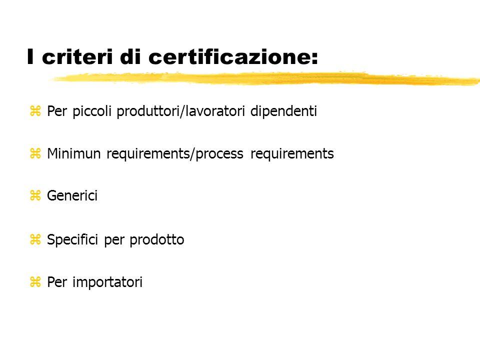 I criteri di certificazione: