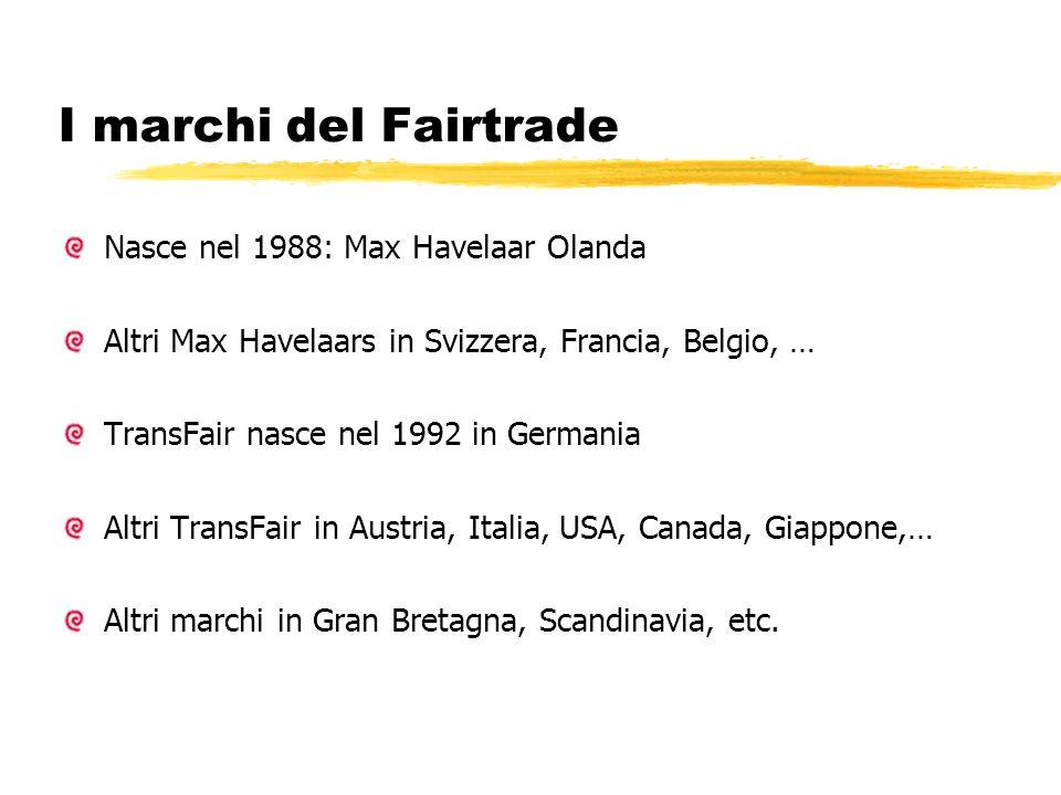 I marchi del Fairtrade Nasce nel 1988: Max Havelaar Olanda