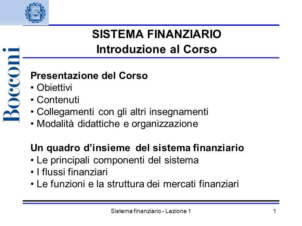 Sistema finanziario - Lezione 1