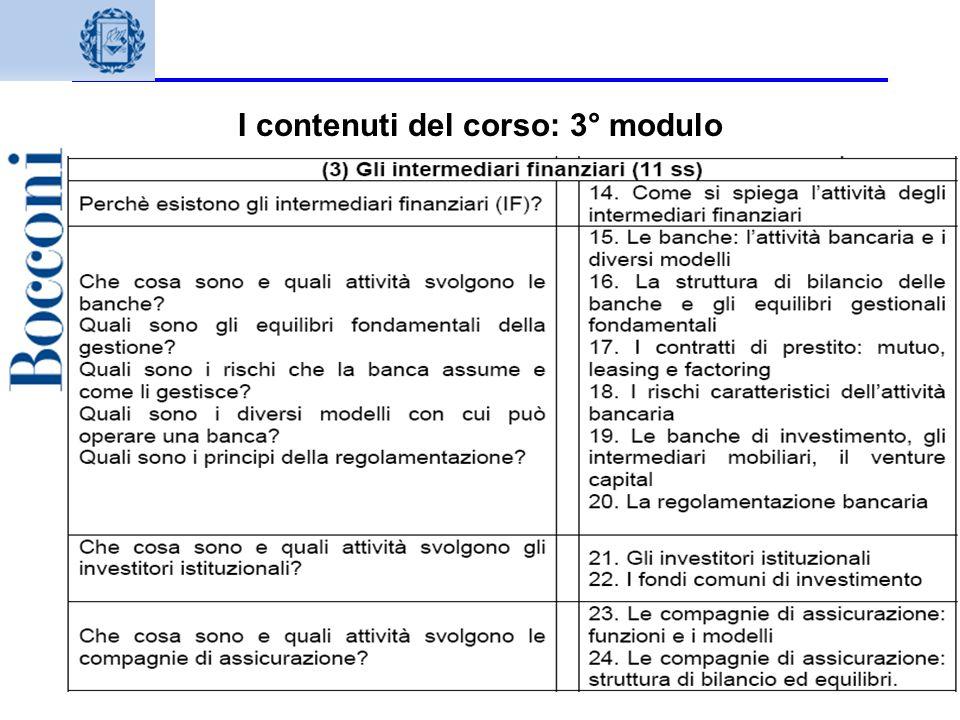 I contenuti del corso: 3° modulo
