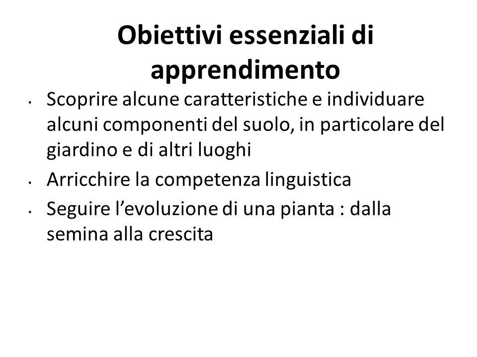 Obiettivi essenziali di apprendimento