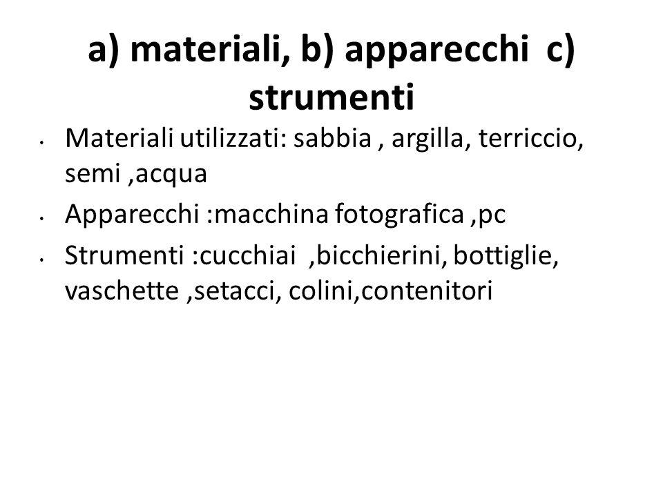 a) materiali, b) apparecchi c) strumenti