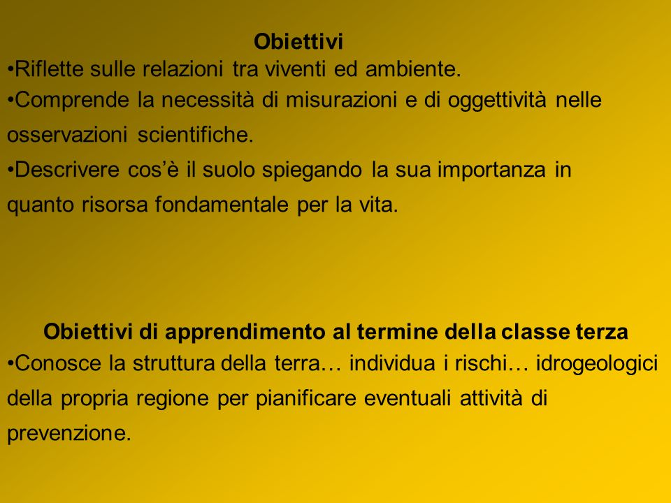 Obiettivi di apprendimento al termine della classe terza