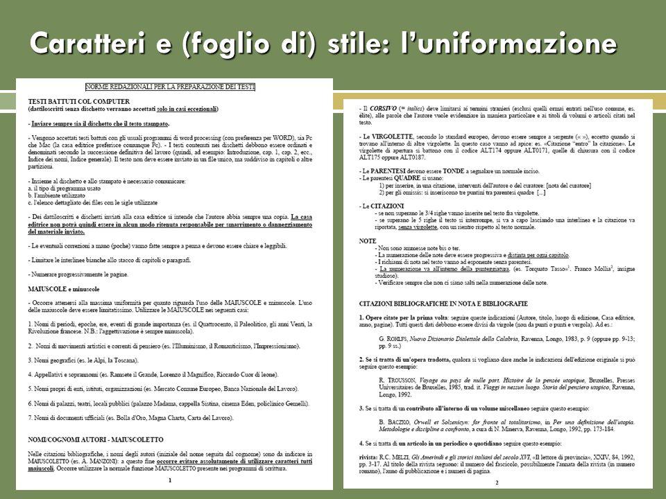 Caratteri e (foglio di) stile: l'uniformazione