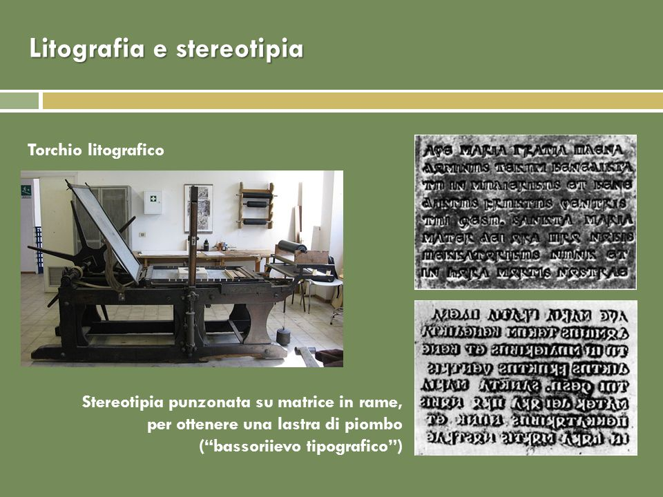Litografia e stereotipia