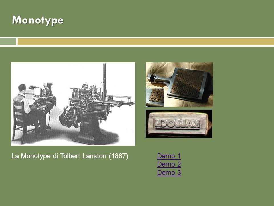 Monotype La Monotype di Tolbert Lanston (1887) Demo 1 Demo 2 Demo 3