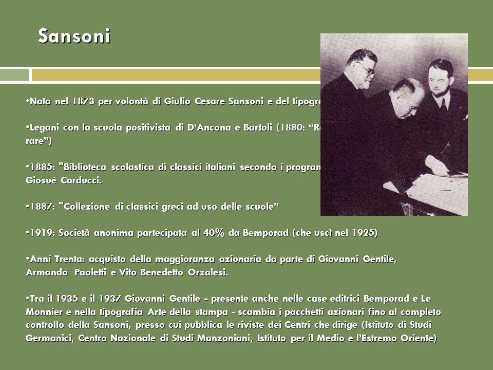 Sansoni Nata nel 1873 per volontà di Giulio Cesare Sansoni e del tipografo Giovanni Carrnesecchi.