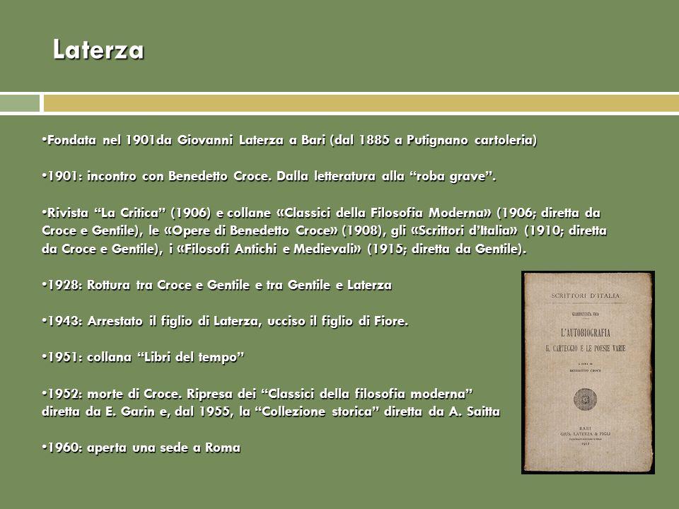 Laterza Fondata nel 1901da Giovanni Laterza a Bari (dal 1885 a Putignano cartoleria)