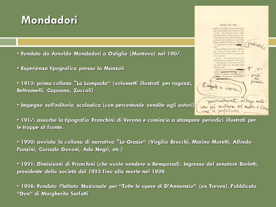 Mondadori Fondata da Arnoldo Mondadori a Ostiglia (Mantova) nel 1907.