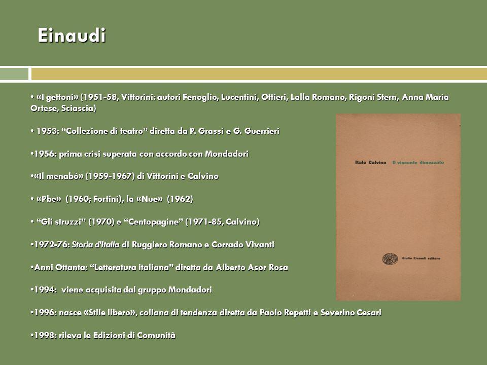 Einaudi «I gettoni» (1951-58, Vittorini: autori Fenoglio, Lucentini, Ottieri, Lalla Romano, Rigoni Stern, Anna Maria Ortese, Sciascia)