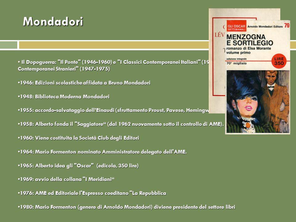 Mondadori Il Dopoguerra: Il Ponte (1946-1960) e I Classici Contemporanei Italiani (1946-1976), I Classici Contemporanei Stranieri (1947-1975)