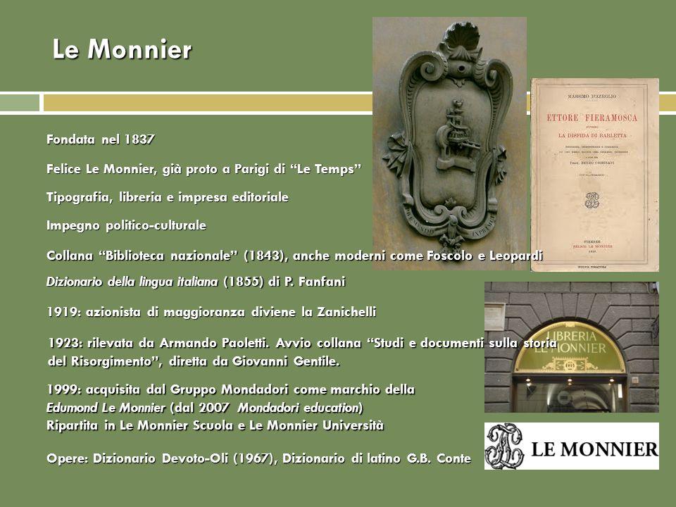 Le Monnier Fondata nel 1837. Felice Le Monnier, già proto a Parigi di Le Temps Tipografia, libreria e impresa editoriale.
