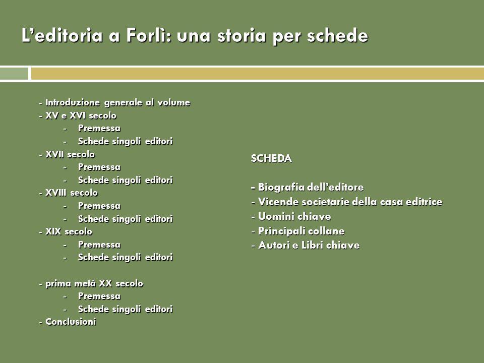 L'editoria a Forlì: una storia per schede