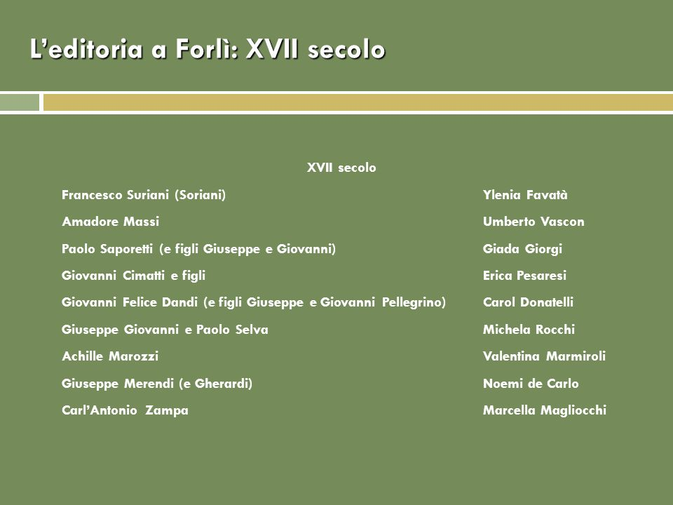 L'editoria a Forlì: XVII secolo