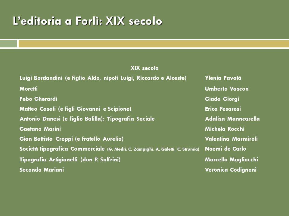 L'editoria a Forlì: XIX secolo