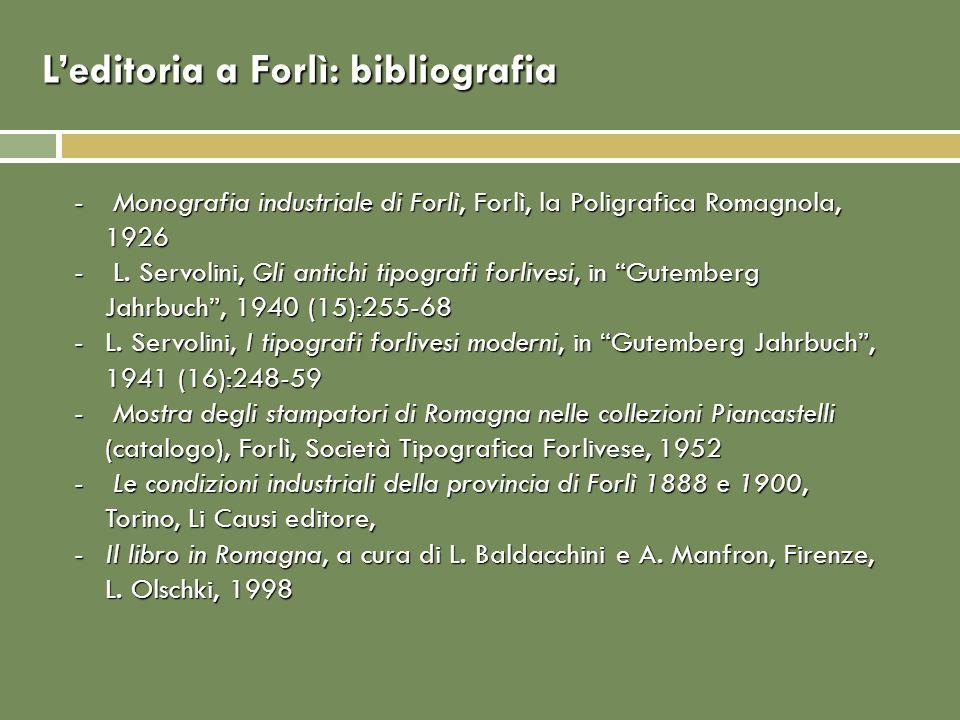 L'editoria a Forlì: bibliografia