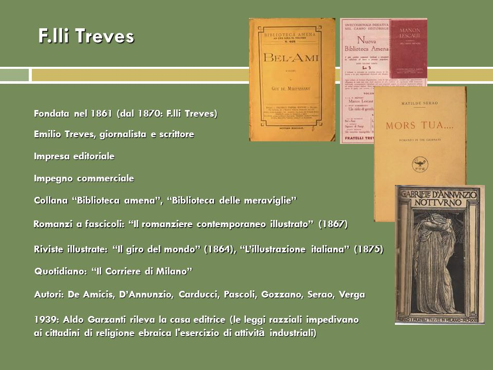 F.lli Treves Fondata nel 1861 (dal 1870: F.lli Treves)