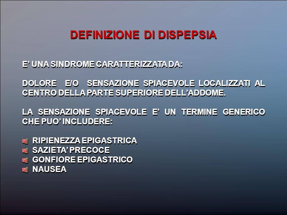 DEFINIZIONE DI DISPEPSIA