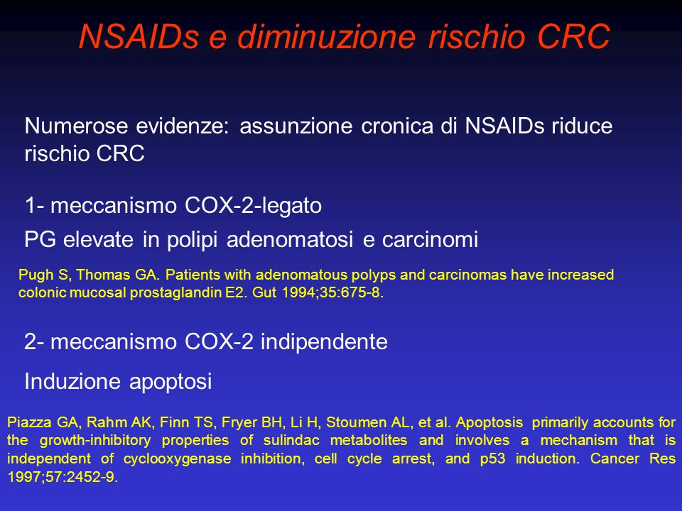 NSAIDs e diminuzione rischio CRC