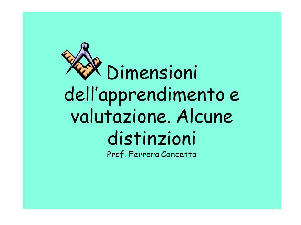 Dimensioni dell'apprendimento e valutazione. Alcune distinzioni Prof