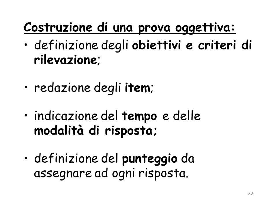 Costruzione di una prova oggettiva: