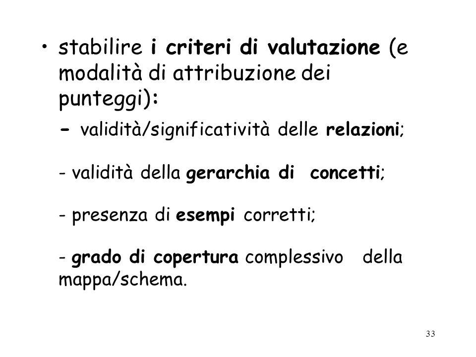 - validità/significatività delle relazioni;